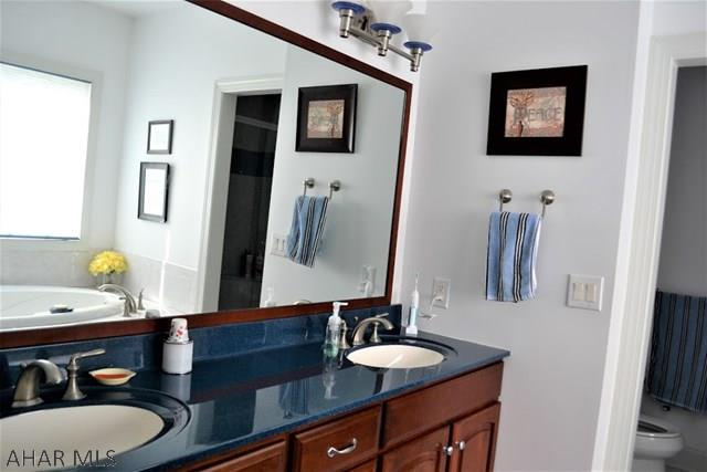 Master bathroom double sinks